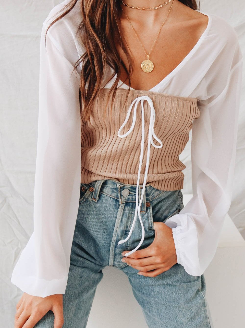 Loose V-neck long-sleeved strap with two-piece top