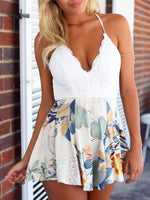 Lace V-Neck Slip Floral Printed Dress