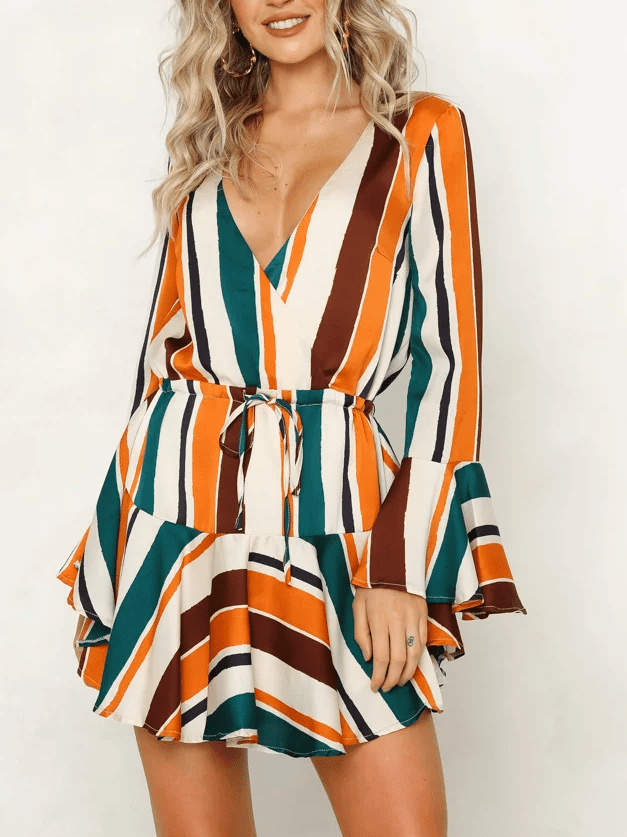 Fashion Sexy V-Neck Print Long-Sleeved Dress
