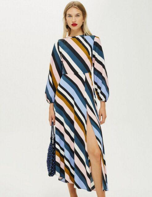 Open Back Round Neck Long Sleeve Print Dress