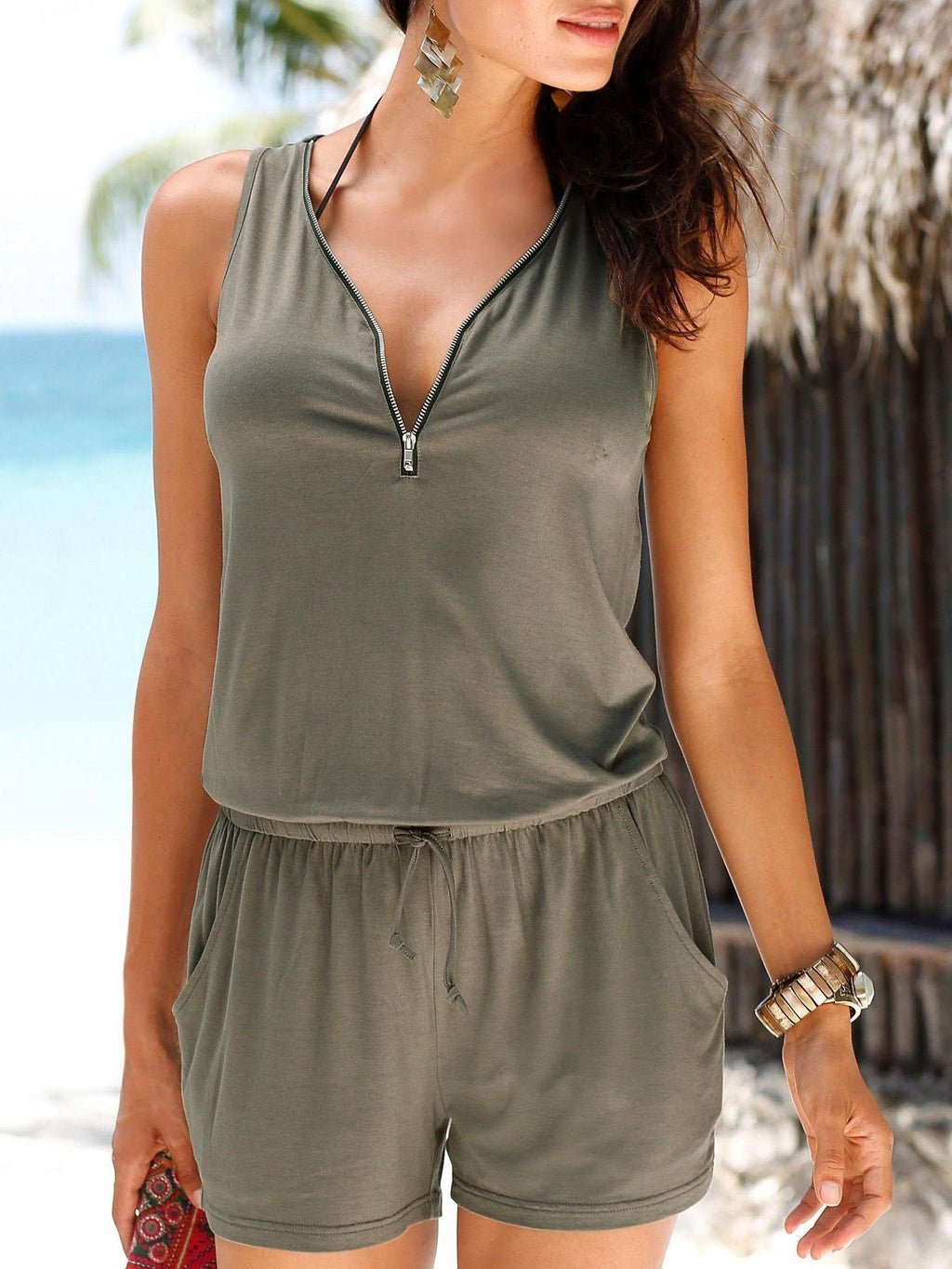 Pocket Zipper Romper Without Necklace