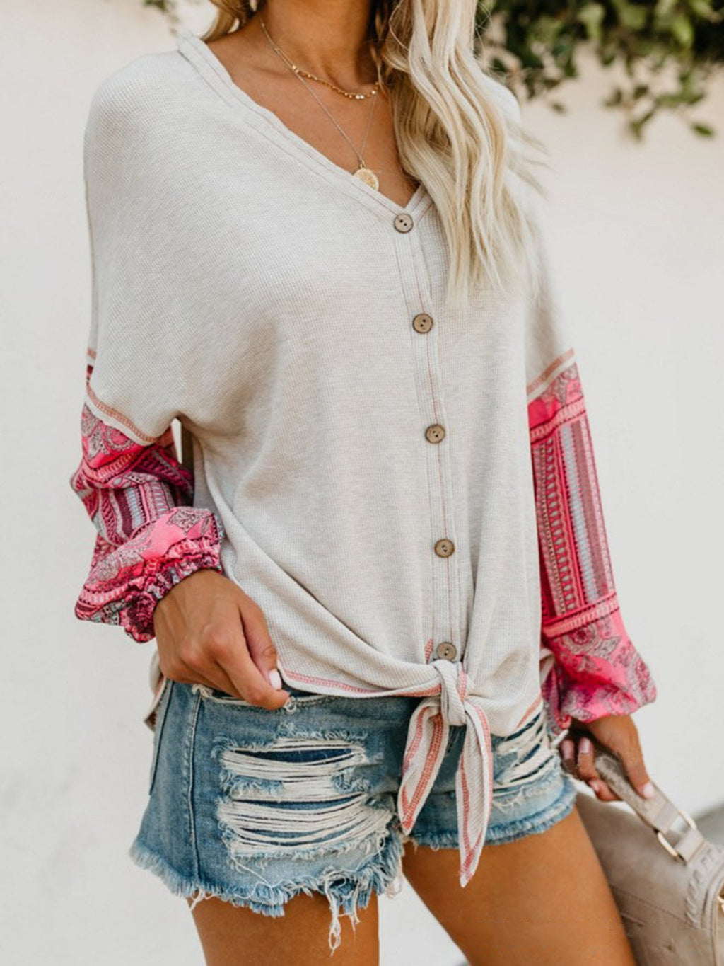 Casual V-Neck Knitted Blouses & Shirt