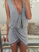 Solid Color V-Neck Irregular Hem Dress