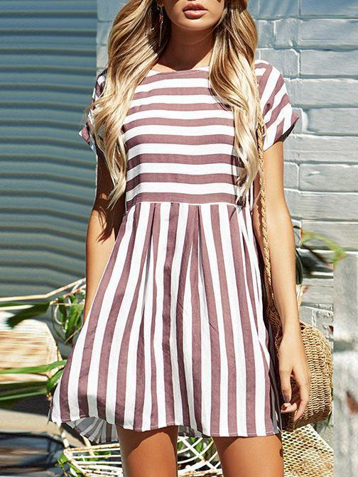 Stripe Splicing O-neck Mini Dress