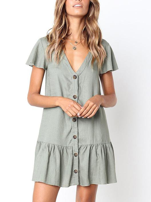 V Neckline Single-Breasted Relaxed Mini Dress
