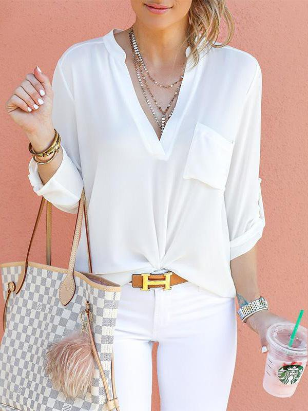 V-Neck Plain Pocket Roll-Up Sleeve Blouses