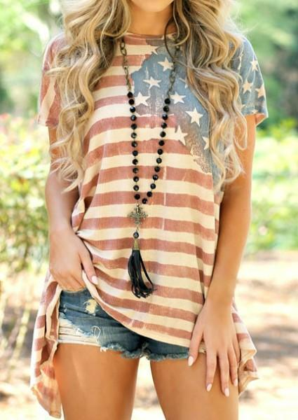 American Flag Asymmetric Printed Blouse Without Necklace-Blouse-Amazingbe.com