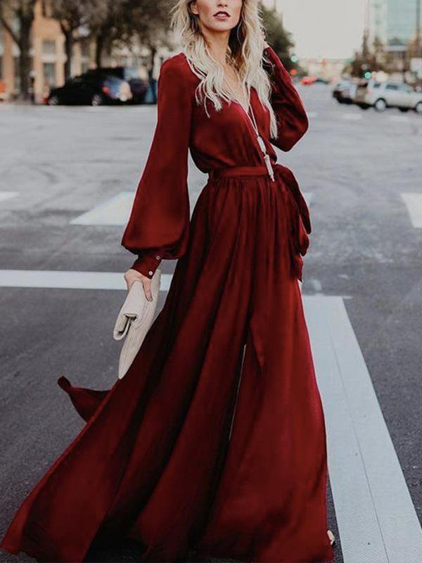 V-neck Split Long-Sleeved Ruffled Dress