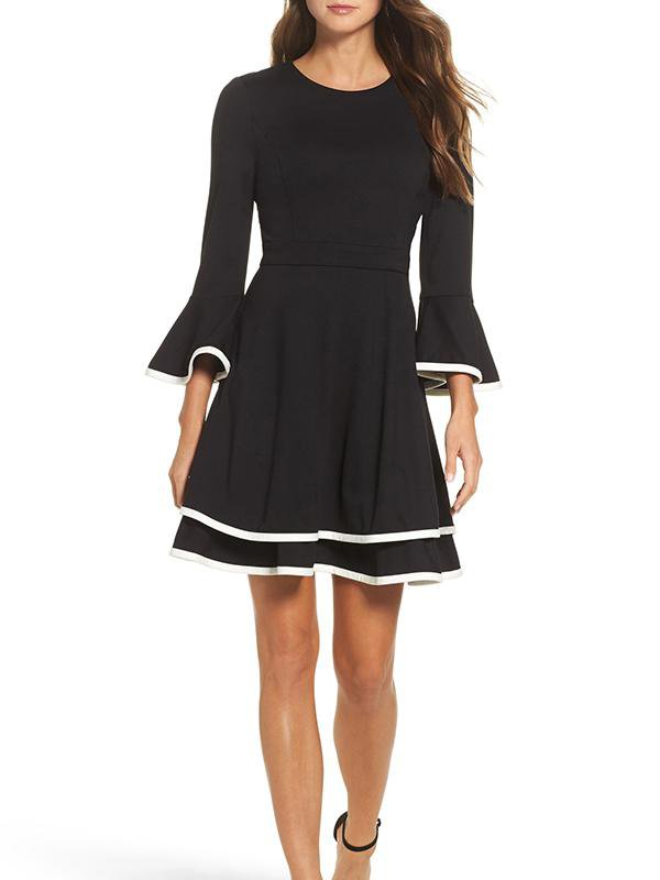Flare Sleeve Contrast Zip Dress