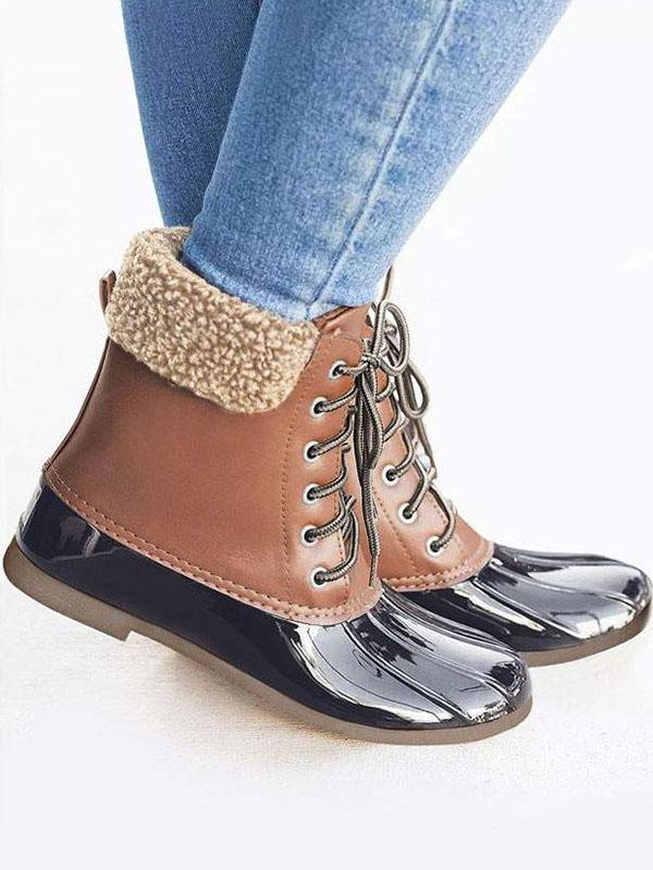 Splicing Waterproof Lace Up Boots
