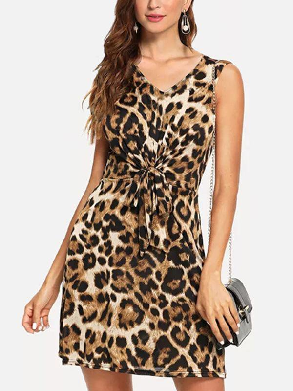 Leopard Deep V-neck Dress