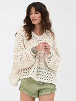 Plain Hollow Crochet Sweater