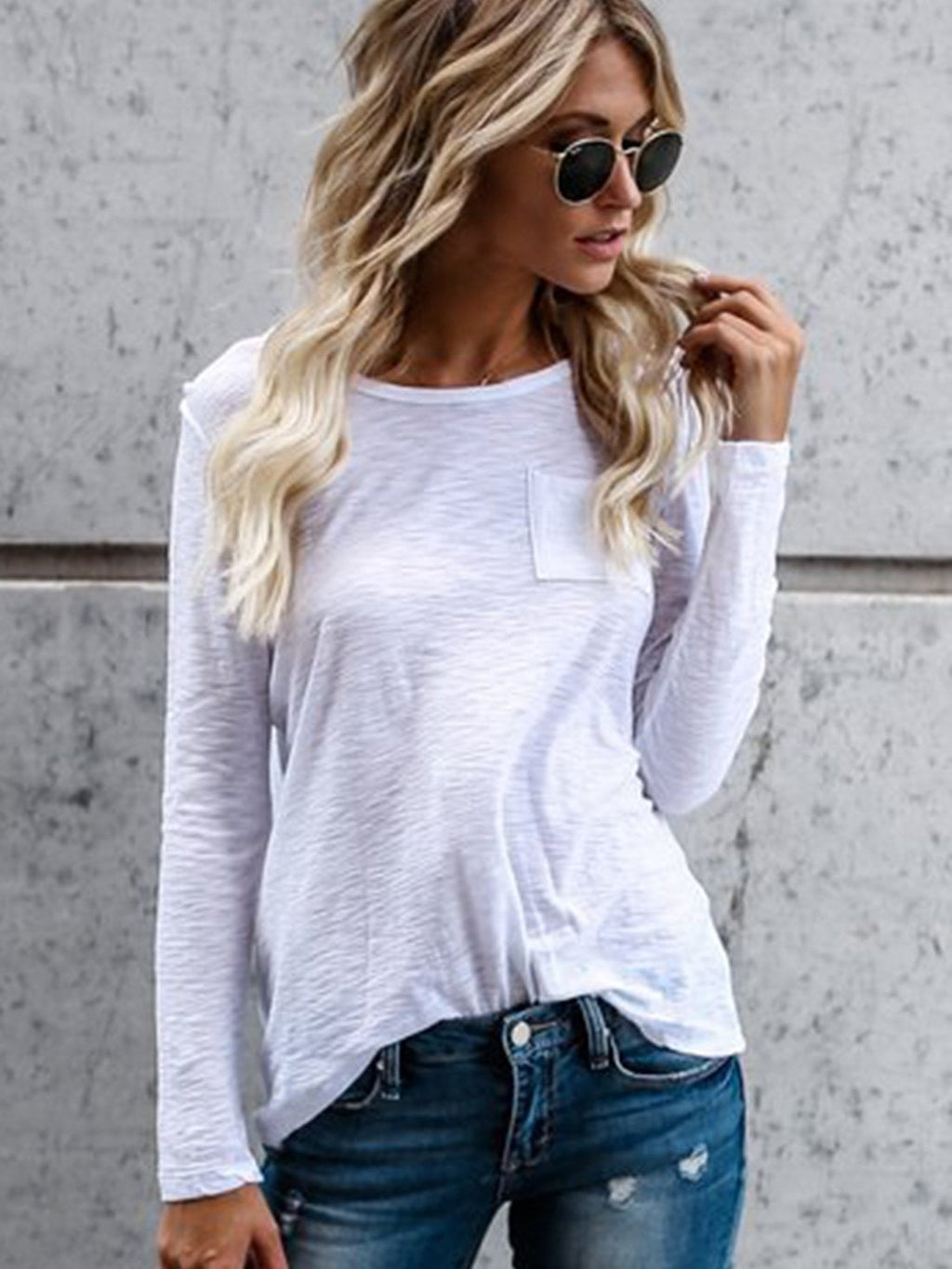 Casual Solid Long Sleeve Round Neck  Women  T-shirt
