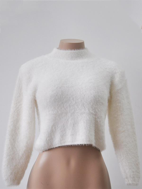 Solid Long-sleeved Mohair Sweater