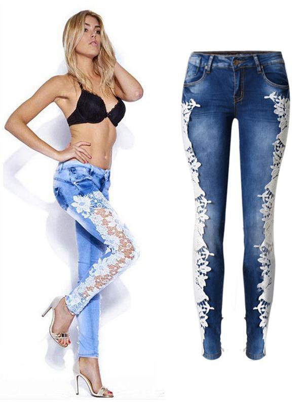 Stitching Lace Jeans