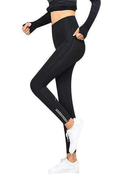 Dadichic.com Long Leggings Black / S Quick-drying Running Tights With Pockets On Waistband & Sides