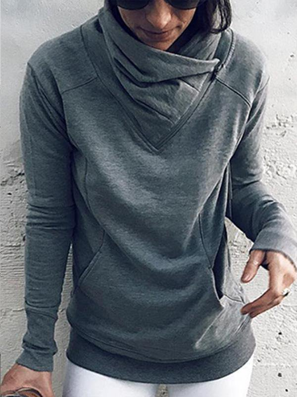 Solid Color Casual Sweatshirt