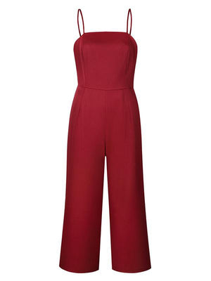 Sling Wrapped Chest Zipper Jumpsuit