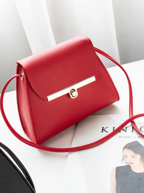 Simple Flap Shoulder PU Leather Bags