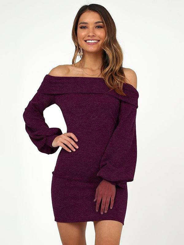 Off-the-shoulder Long-sleeved Slim Dress