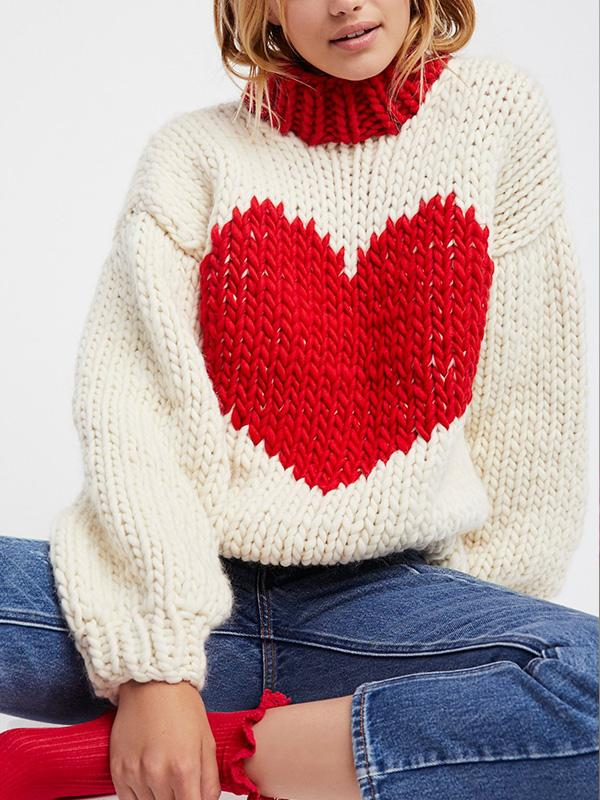 Heart-Shaped Color-Stitch Sweater