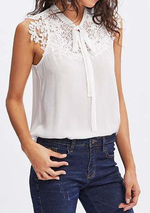Lace Applique Tied Neck Top-Blouse-Amazingbe.com