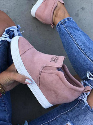 Fashion Letter Faux Suede Wedge Heel Casual Sneakers