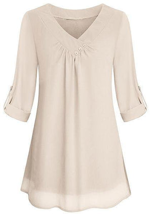 Solid Chiffon Button V-neck Blouse-Blouse-Amazingbe.com