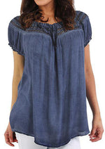 Solid Color Pleated Short Sleeves O-neck Blouse-Blouse-Amazingbe.com