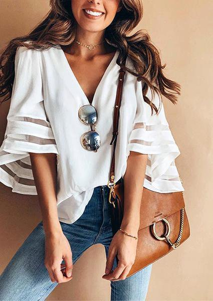 Solid Trumpet Sleeve Splicing Chiffon V-neck Blouse-Blouse-Amazingbe.com