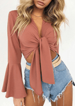 Tied Sleeve Chiffon Solid Color Blouse-Blouse-Amazingbe.com