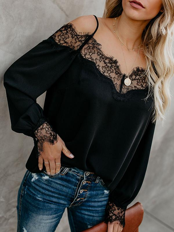 Sling Lace Stitching Shirt