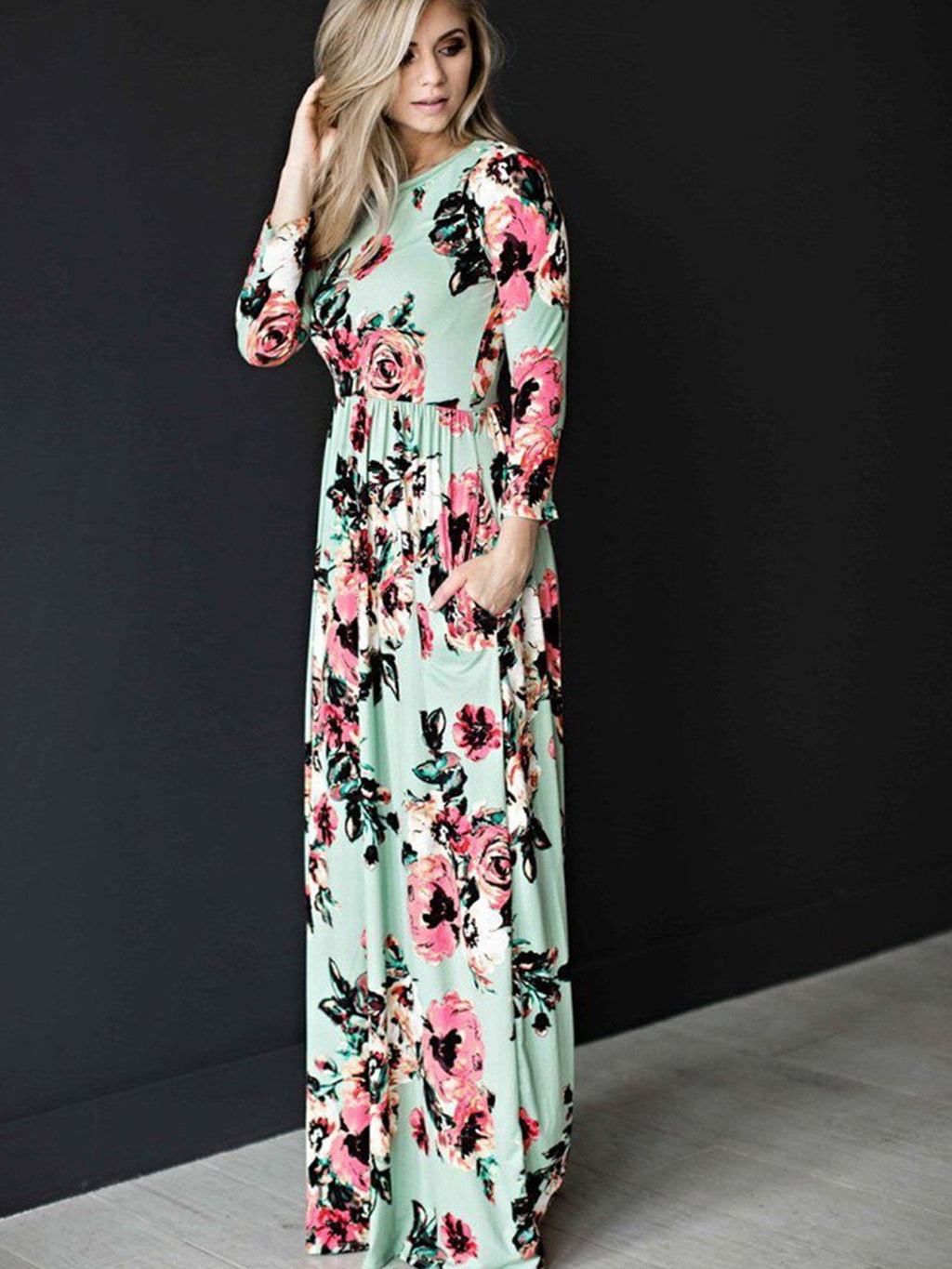 Long Sleeve Floral Printed Maxi Prom Dress