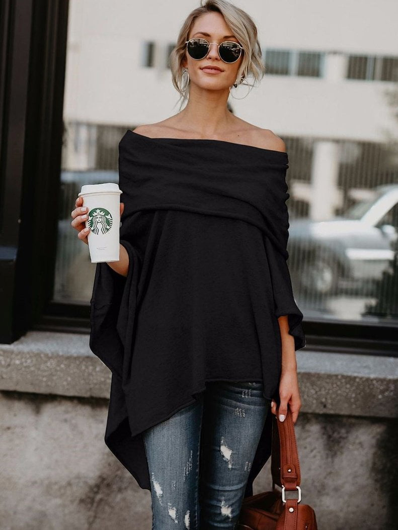 Women's Off Shoulder Slit Irregular Loose Fit Tee