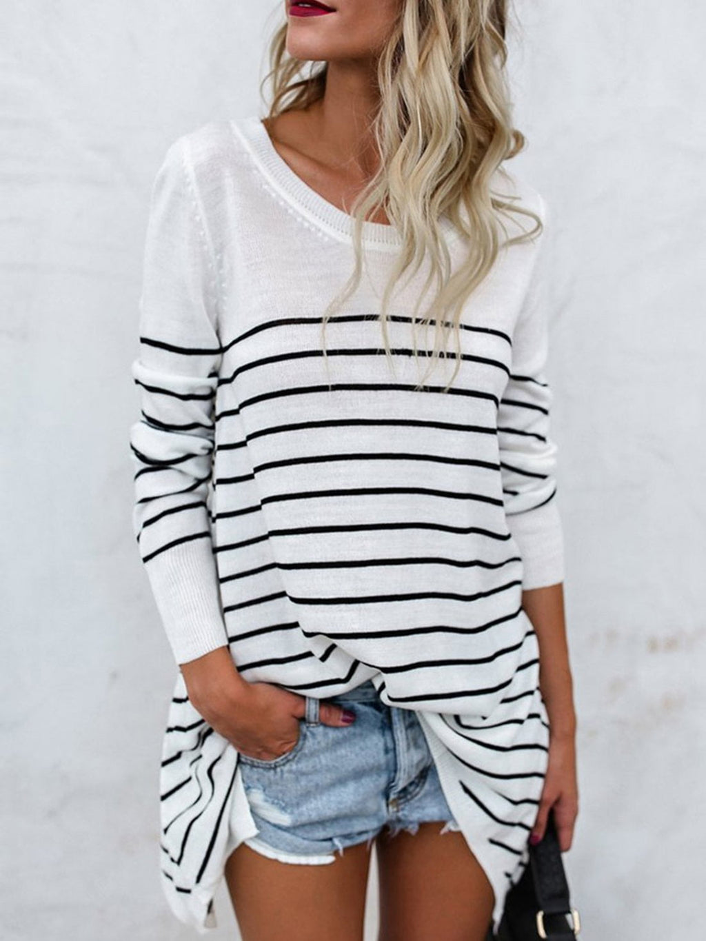 Round Neck Long Sleeve Knit Striped Tee Shirt