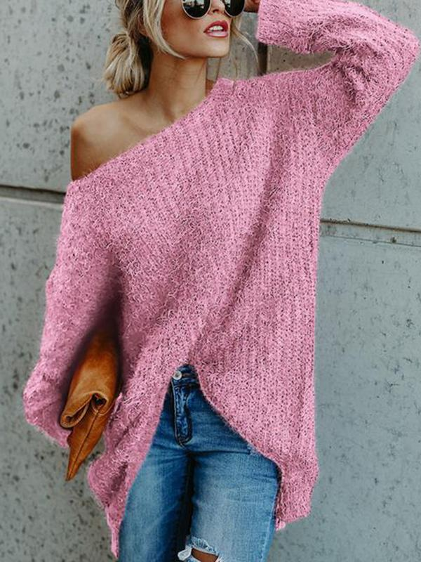 One Shoulder Long Sleeve Irregular Pullover Sweater