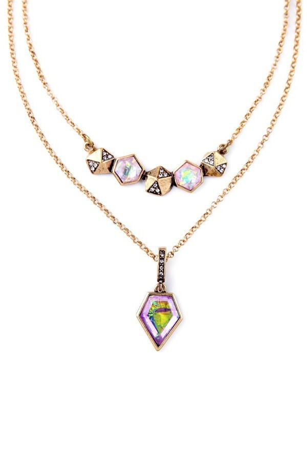 Erica Nikol Kylie Double Layer Pendant Necklace