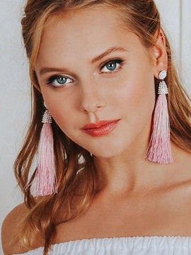 Erica Nikol Fatima Long Tassel Earrings