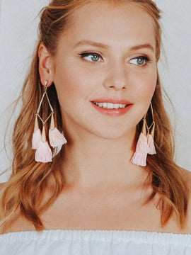 Erica Nikol Talia Long Tassel Earrings