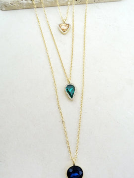 LA3accessories Delicate Three-Layered Stone Necklace