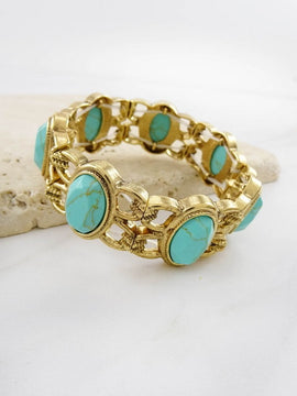 LA3accessories Turquoise Stone Link Stretch Bracelet