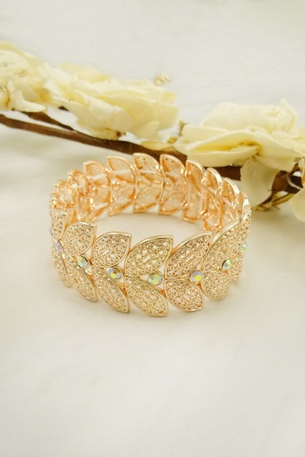 LA3accessories Rhinestone Filigree Stretch Bracelet