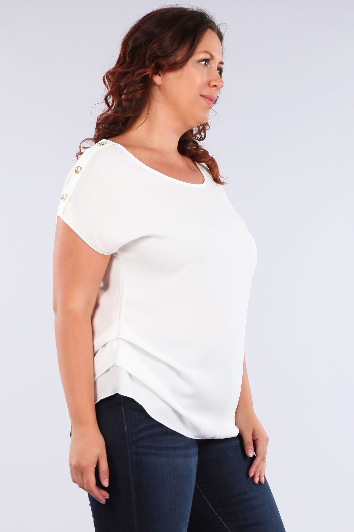 Haute Fox Button Trim Short Sleeve Casual Top