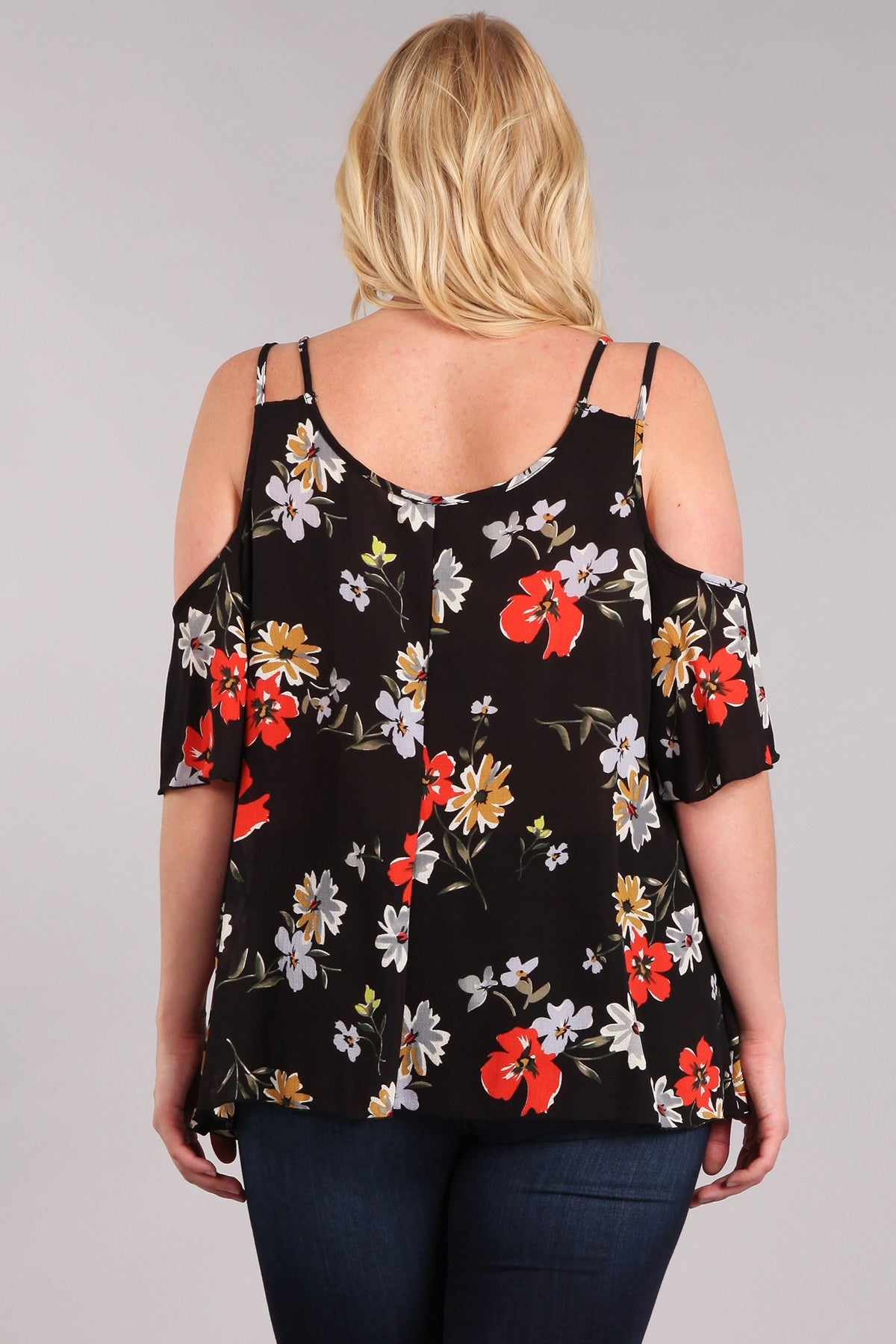 Haute Fox Floral Print Cold Shoulder Short Sleeve Top