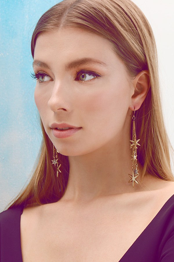 Erica Nikol Crystal & Goldtone Shooting Stars Drop Earrings