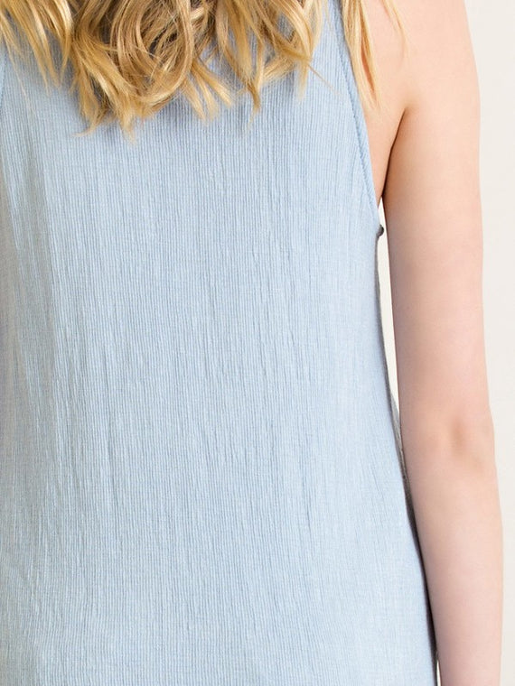 Entro Solid Ribbed Mock Neck Sleeveless Basic Top