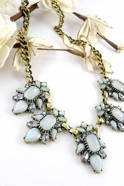 LA3accessories Burnished Stone Statement Necklace