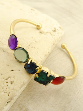 LA3accessories Multi-Colored Stone Cuff Bracelet