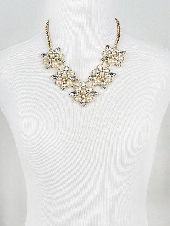 LA3accessories Pearl Gemstone Statement Necklace