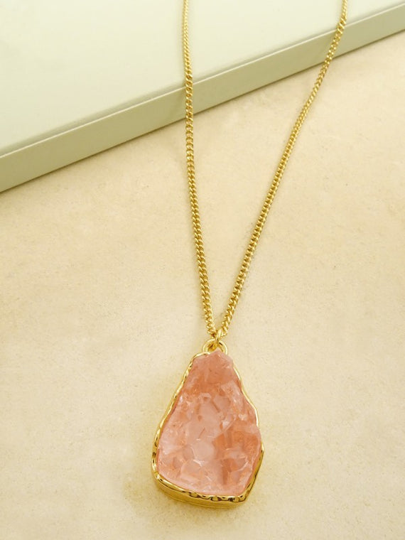 LA3accessories Soft Pink Druzy Stone Necklace
